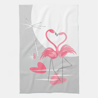 Flamingo Love Large Moon kitchen towel vertical
