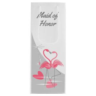 Flamingo Love Large Moon Maid of Honor wine Wine Gift Bag