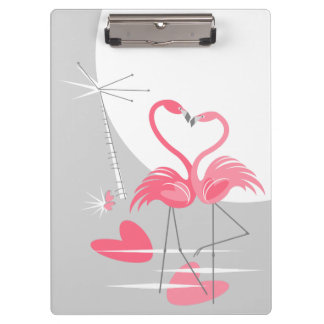 Flamingo Love Large Moon Name clipboard