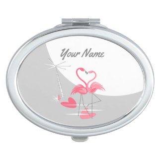 Flamingo Love Large Moon Name compact mirror oval