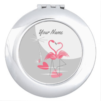 Flamingo Love Large Moon Name compact mirror round