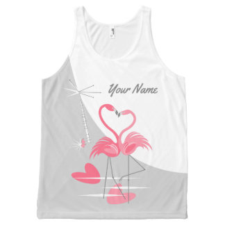 Flamingo Love Large Moon Name tank top