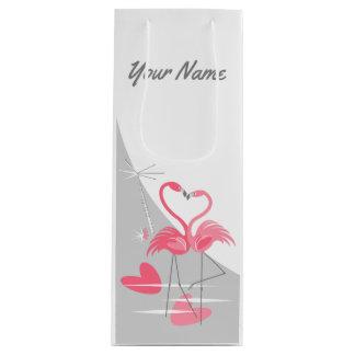 Flamingo Love Large Moon Name wine Wine Gift Bag