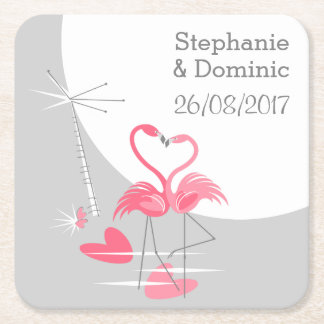 Flamingo Love Large Moon Names Date coaster square