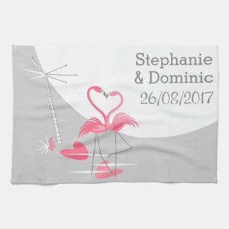 Flamingo Love Large Moon Names Date kitchen towel