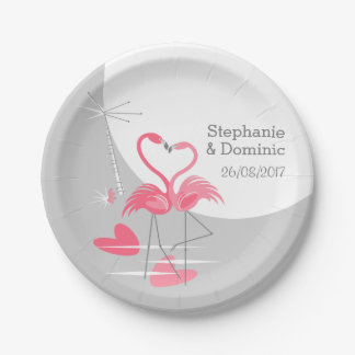Flamingo Love Large Moon Names Date paper plates