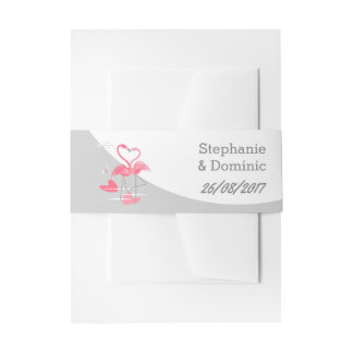 Flamingo Love Large Moon Names Date portrait Invitation Belly Band