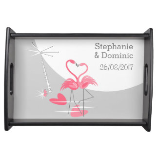 Flamingo Love Large Moon Names Date serving tray