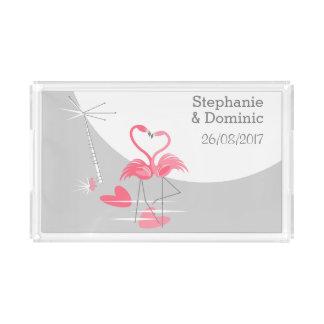Flamingo Love Large Moon Names Date tray acrylic