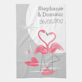 Flamingo Love Large Moon Names Date vertical Kitchen Towel