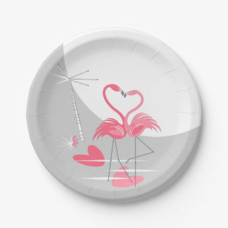 Flamingo Love Large Moon paper plates