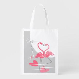Flamingo Love Large Moon reusable bag