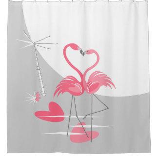 Flamingo Love Large Moon shower curtain