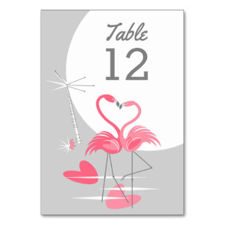Flamingo Love Large Moon table card