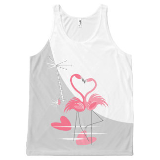 Flamingo Love Large Moon tank top
