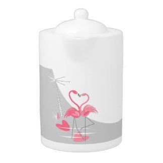 Flamingo Love Large Moon teapot medium horizontal