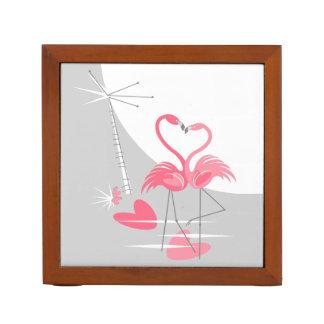 Flamingo Love Large Moon text back desk organizer