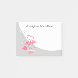 Flamingo Love Large Moon Text post-it notes