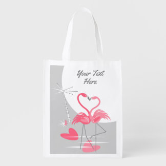 Flamingo Love Large Moon Text reusable bag