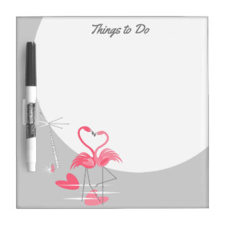 Flamingo Love Large Moon Text square Dry Erase Board