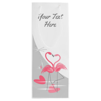Flamingo Love Large Moon Text wine Wine Gift Bag