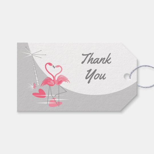 Flamingo Love Large Moon Thank You landscape Gift Tags