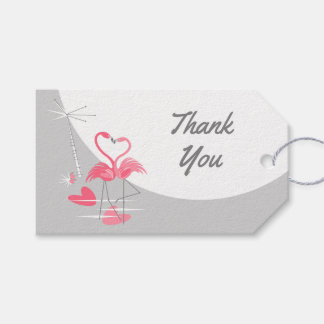Flamingo Love Large Moon Thank You Text landscape Gift Tags