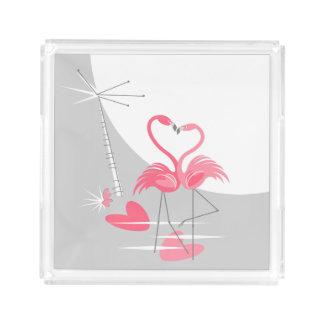 Flamingo Love Large Moon tray small square acrylic