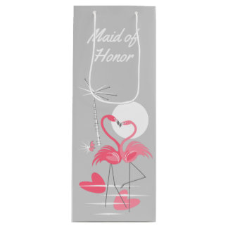 Flamingo Love Maid of Honor gift bag wine
