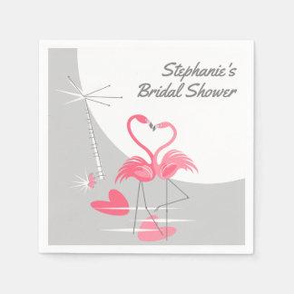 Flamingo Love Moon Bridal Shower paper napkins