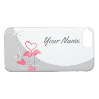 Flamingo Love Moon Name iPhone 7 case horizontal