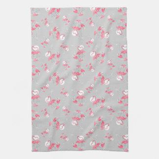 Flamingo Love Multi kitchen towel vertical