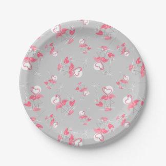 Flamingo Love Multi paper plates