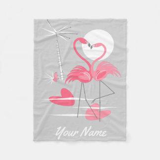 Flamingo Love Name fleece blanket