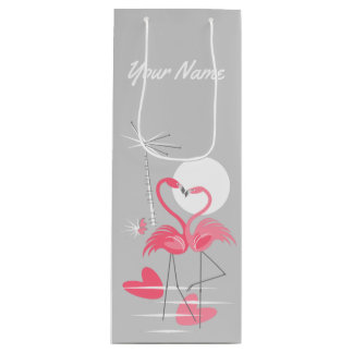 Flamingo Love Name gift bag wine