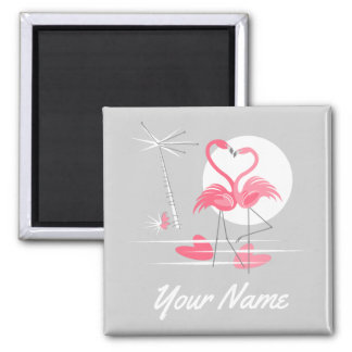 Flamingo Love Name magnet square