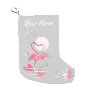 Flamingo Love Name stocking two-sided