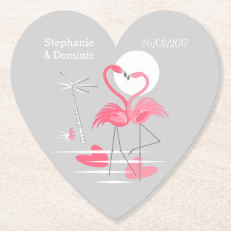 Flamingo Love Names Date coaster heart