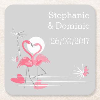 Flamingo Love Names Date coaster square