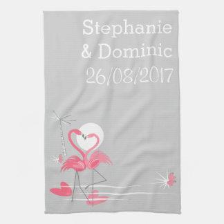 Flamingo Love Names Side Date vertical Kitchen Towel