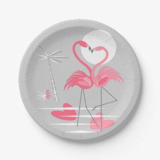 Flamingo Love paper plates