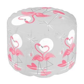 Flamingo Love pouf round
