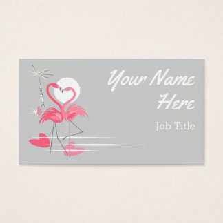 Flamingo Love Side business card