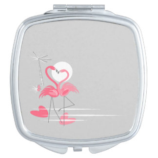 Flamingo Love Side compact mirror square