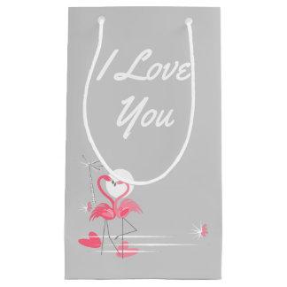Flamingo Love Side I Love You small Small Gift Bag