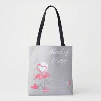 Flamingo Love Side Maid of Honor tote bag