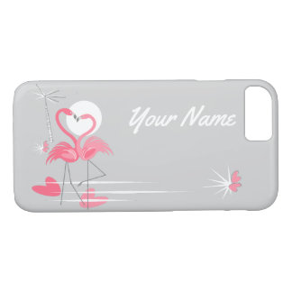 Flamingo Love Side Name iPhone 7 case