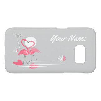 Flamingo Love Side Name Samsung Galaxy S7 case