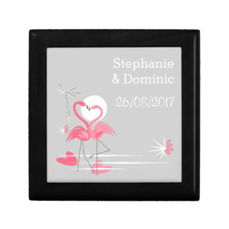 Flamingo Love Side Names Date gift box black