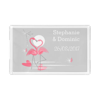Flamingo Love Side Names Date tray acrylic
